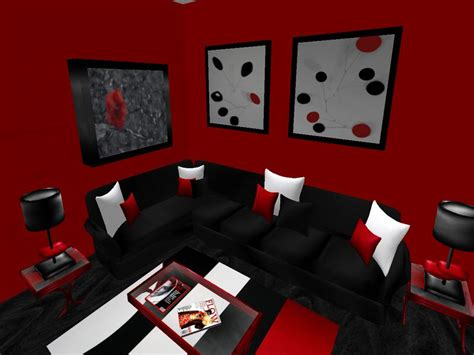 living room things to consider to combine black and red
