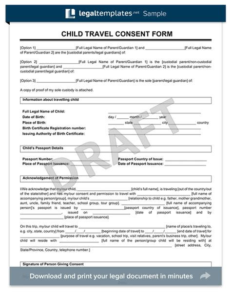 free child travel consent form template sle child travel consent form templates