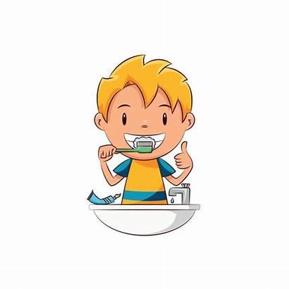 Teeth Brushing Kid Clipart Child Vector Clip