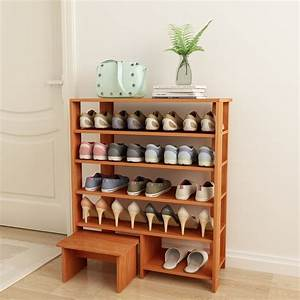 Espresso, 5, Shelves, Shoe, Storage, Rack, With, Chair-, Finish, Solid, Wood, -, Walmart, Com