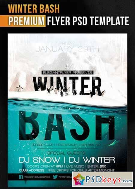 winter bash flyer psd template facebook cover