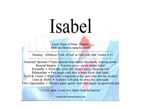 Meaning Of The English Female Name Isabel Is Oath Of God