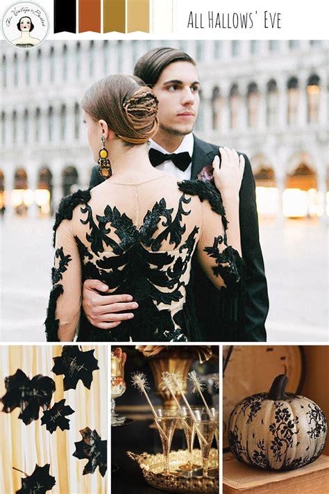 gilded glamorous  hallows eve wedding chic