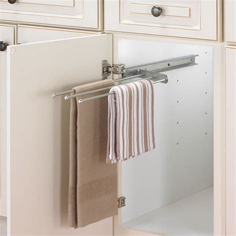 Cabinet Pullout Towel Bar  Chrome In Kitchen Towel Holders