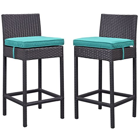 lift outdoor patio rattan bar stool espresso turquoise