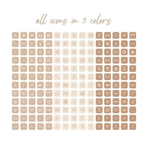 neutral palette app icons ios 14 icons aesthetic boho ios