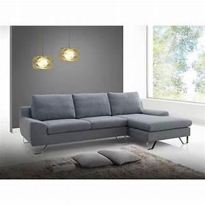 Canapé D Angle Gris : canap d 39 angle en tissu gris cameron ~ Teatrodelosmanantiales.com Idées de Décoration