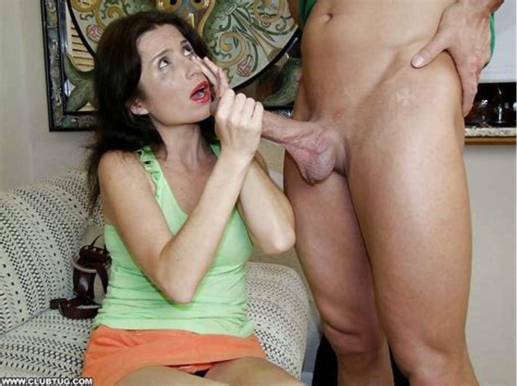 #Submissive #Mature #Brunette #Gives #A #Handjob #And #Gets #A