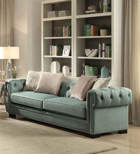 Teal Tufted Sofa by Teal Polished Velvet Button Tufted Sofa Set 2pcs Acme