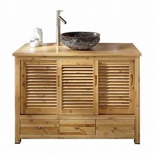 Meuble de salle de bain en bambou 120 cm akita achat for Meuble rangement salle de bain bambou