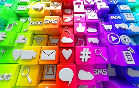 Digital Social Media Wallpaper by Wallpaper Cubes Colorful Icons Cubes Icons