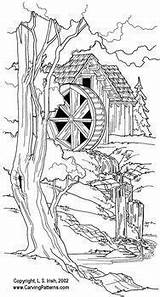 Burning Wood Patterns Pyrography Farm Coloring Pattern Woodburning Carving Drawing Scenes Projects Colouring Scene Adult Package Farms Tracing Wildlife Lighthouse sketch template