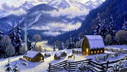 Cottage Christmas Winter Snow Village Scene Desktop