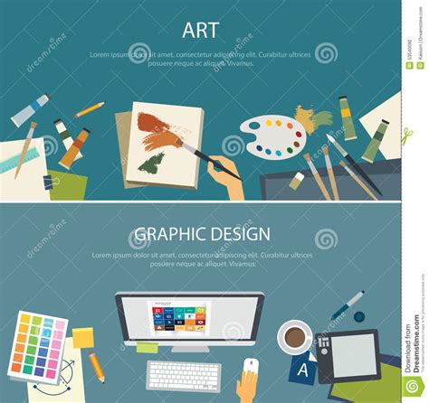 graphic designer education education and graphic design web banner flat design