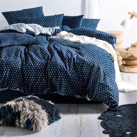 linen house indigo oki cotton quilt cover set reviews