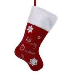Christmas Stockings - Red Velvet Merry Christmas Stocking with White