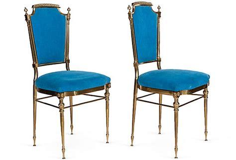 brass blue velvet chairs pair on onekingslane