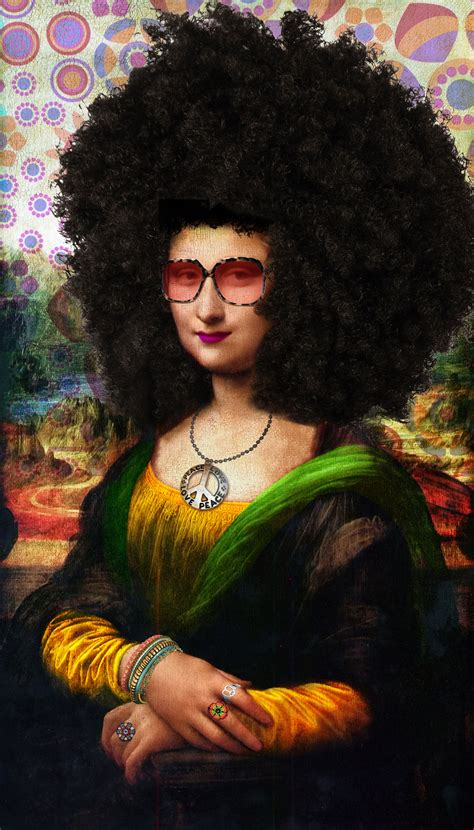 Gioconda Hippie With Afro Monalisa Con