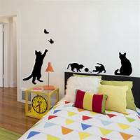 good looking cat wall decals Cat Play Butterfly Removable Decal Wall Sticker ...