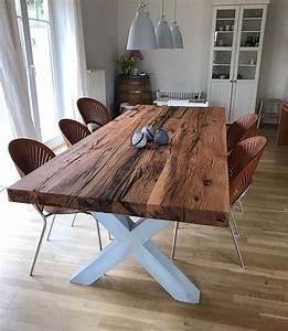 Massivholztisch Selber Bauen : esstisch aus eichenholz altholz auf einem tischgestell aus beton holzwerk hamburg ~ Watch28wear.com Haus und Dekorationen
