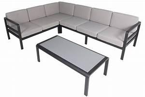 Salon Aluminium De Jardin : salon de jardin alu avec coussins et table plateau verre ~ Edinachiropracticcenter.com Idées de Décoration