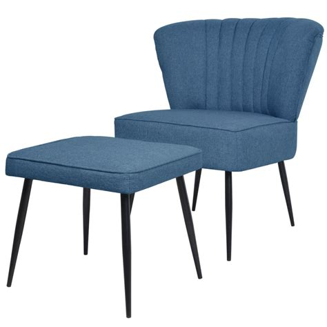 chaise avec repose pied vidaxl chaise de cocktail avec repose pied tissu bleu offre girofferte fr