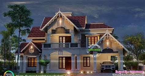 cute decorative sloping roof house kerala home design  floor plans