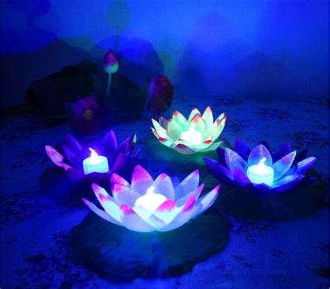 diameter  cm floating led lotus lamp  colorful changed
