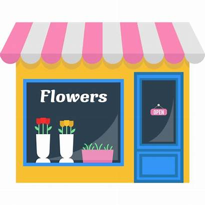 Flower Icon Flowers Buildings Shopping Clipart Open