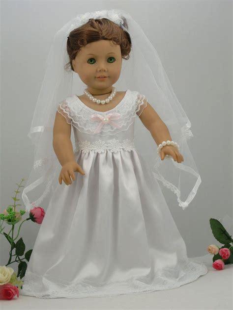 white handmade american girl doll wedding dressprincess
