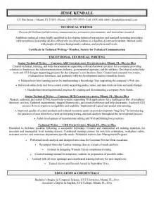 resume writers for exle technical writer resume sle