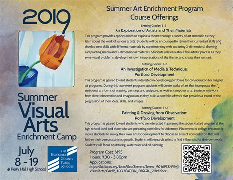 summer art enrichment program division curriculum instruction