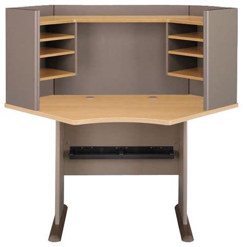 oak desk with hutch bush series a 42 quot wood corner computer desk with hutch in