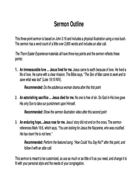 sermon outline template 23 free outline exles sles