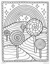 Coloring Rainbow Pages Candy Lollipops Adults Castle Lollipop Printable Adult Candyland Pop Mountain Cool Culture Pattern Rocks Psychedelic Template Templates sketch template