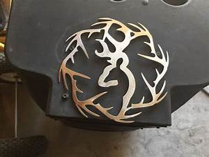Plasma cut deer with antler ring cut out Metal Wall Art