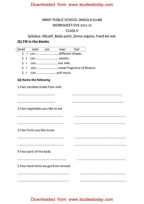 cbse class  evs practice worksheets   body parts