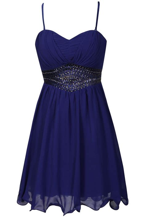 mistress blue embellished bustier dress