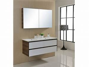ensemble de salle de bain adele suspendu double vasque et With meuble salle de bain et miroir