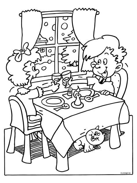Kleurplaat Overtrekken Eten by Kleurplaat Gezellig Uit Eten Met Valentijnsdag