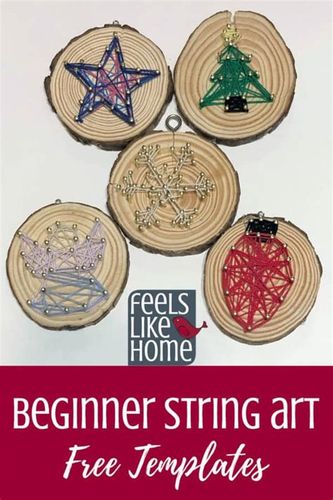 simple easy christmas string art ornaments  kids