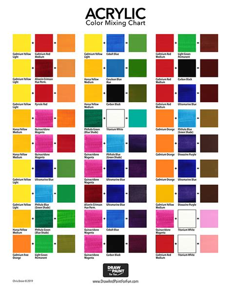 acrylic color mixing chart free pdf download draw and paint for fun