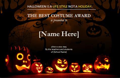 halloween  costume award certificate word excel