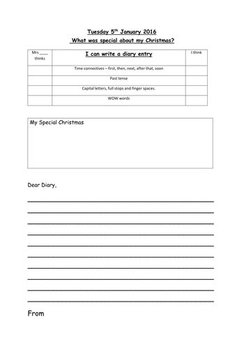 diary template  vt teaching resources tes