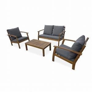 Canape De Jardin En Bois : salon de jardin en bois 4 places ushua a coussins gris canap fauteuils et table basse en ~ Dallasstarsshop.com Idées de Décoration