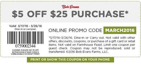 $5 Off $25 Bob Evans Coupon - Expires March 26, 2016