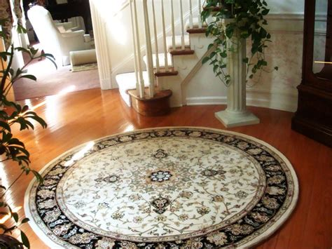 rug  curved staircase traditional entry