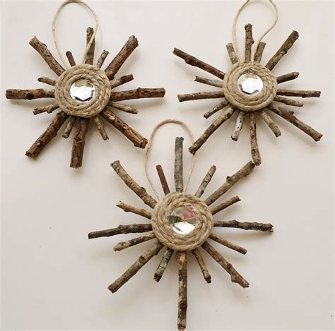 rustic snowflake ornaments set of 3 primitive by lillysln
