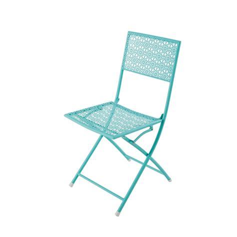 chaise de jardin bleu chaise de jardin pliante en métal bleu turquoise suzon
