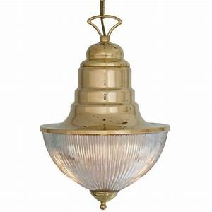 Ships pendant hanging lantern in solid brass with ribbed